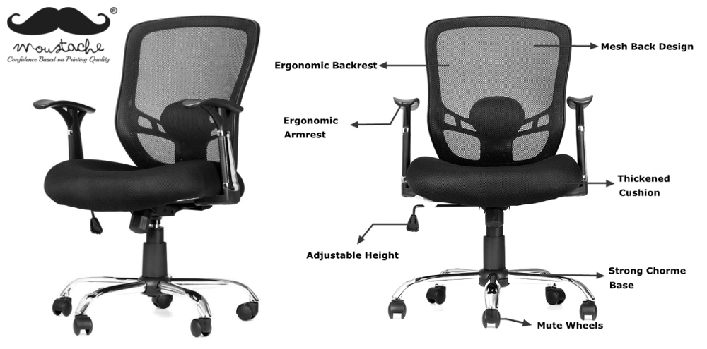 Moustache® Office Mesh Task Chair with Armrest, Mid-Back