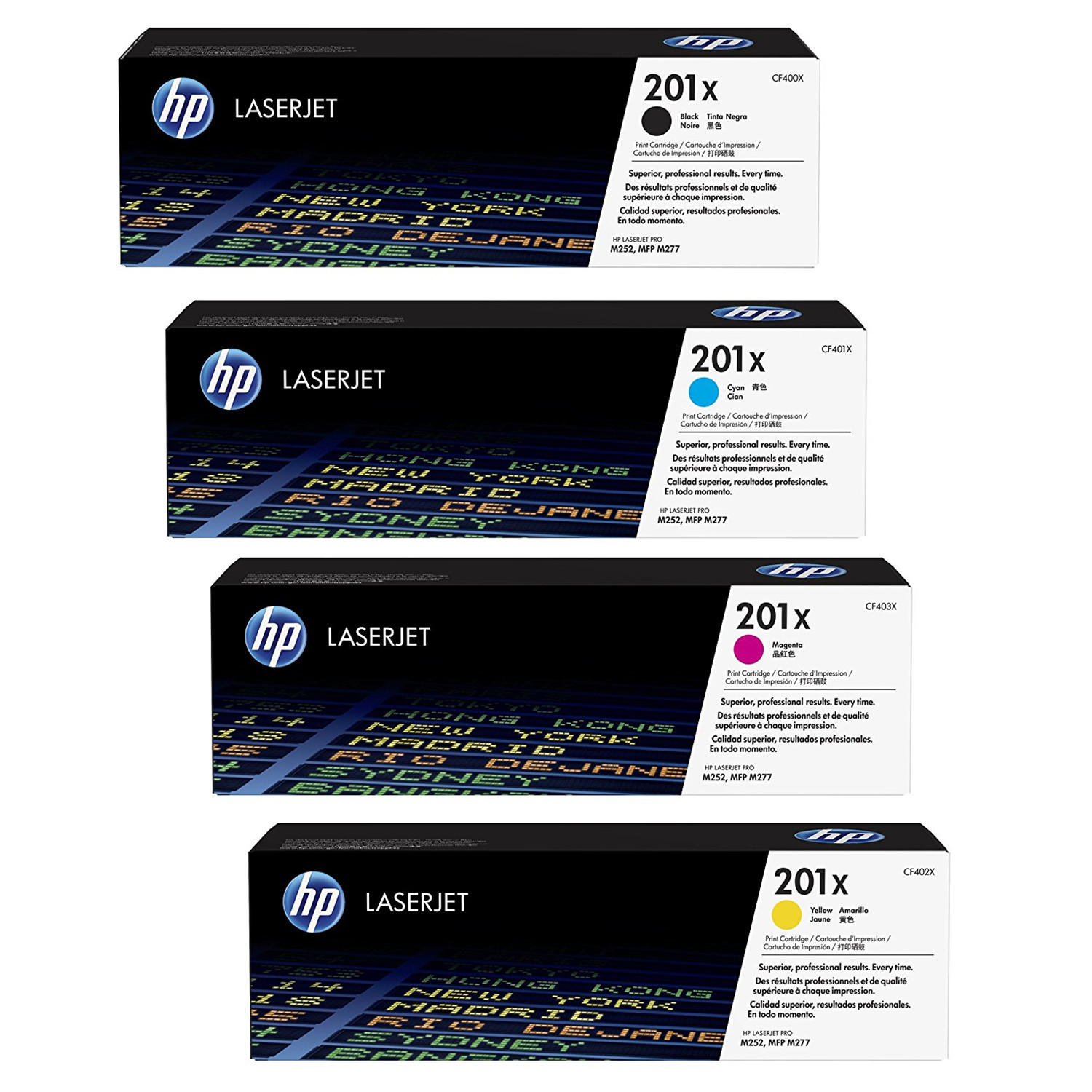 HP 201X Original Toner Cartridge Combo High Yield BK/C/M/Y