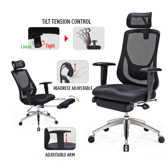 Adjustable Office Mesh Chair with Footrest