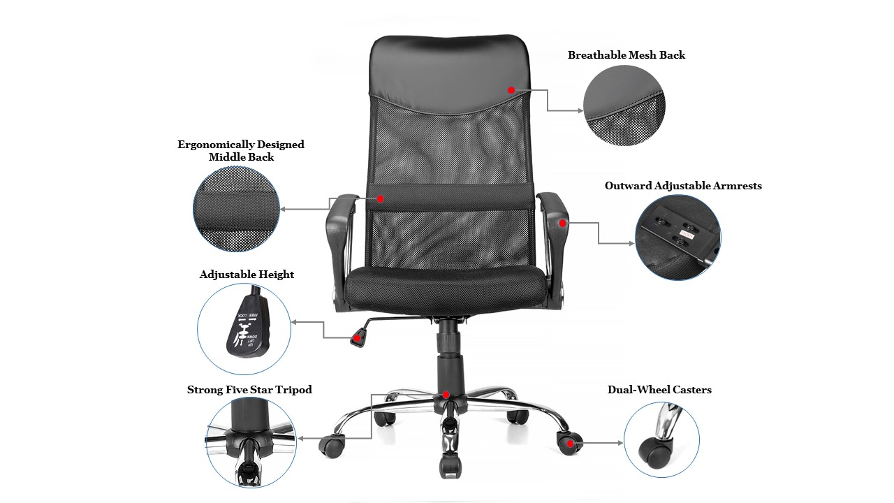 Ergonomic Adjustable High Back Office Mesh Chair