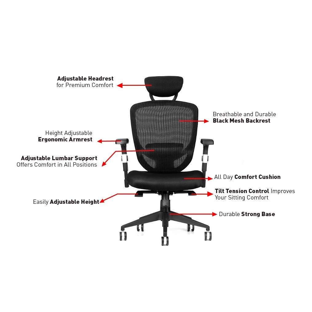 Ergonomic Adjustable Office Mesh Chair With Adjustable Headrest And Lumbar Support - Moustache®