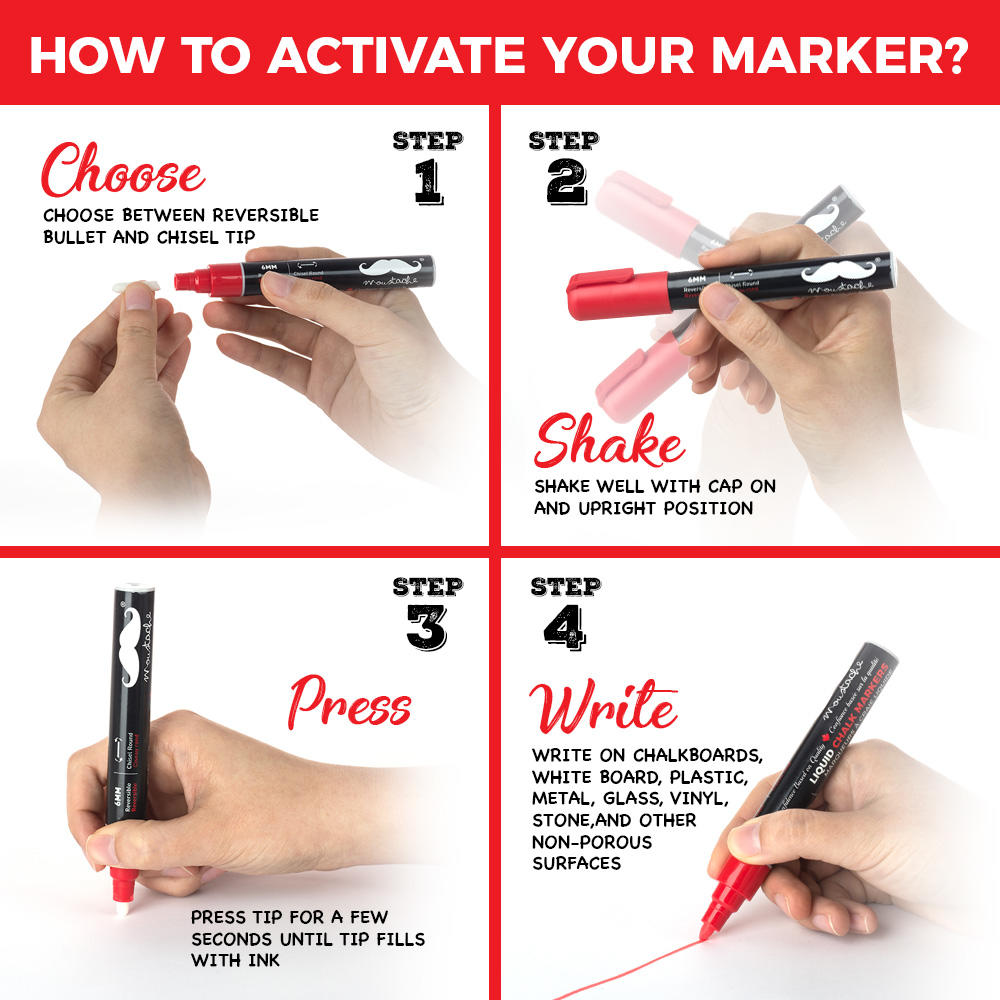 how to activate Moustache Liquid Chalk Markers