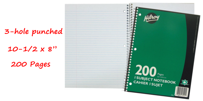 Hilroy Notebook