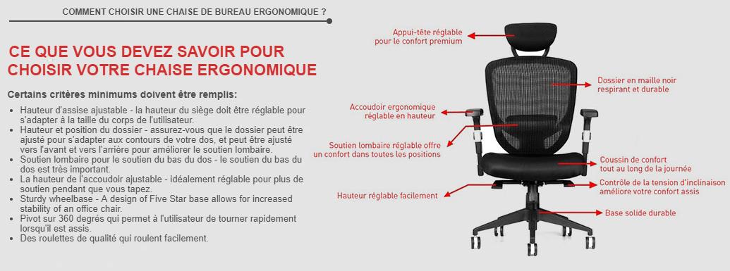 La chaise de bureau réglable en maille Moustache avec bras fixes et dossier haut