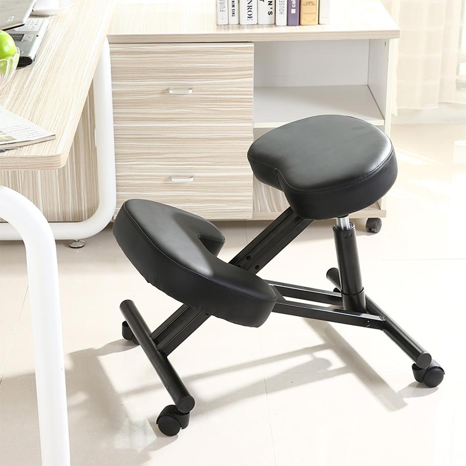 Ergonomic Adjustable Kneeling-Office Chair Black Moustache